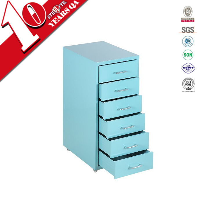 Fashion colorful hair salon storage cabinet 6 drawer small filing cabinet