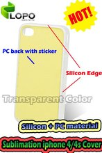 Sublimation Case For iphone4/4s(silicon and PC material,with aluminium board for sublimation,with sticker)