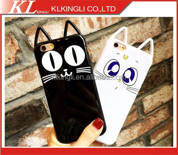 2016 New Phone Case for Iphone 7 Cute Luna Cat Ear Soft Tpu Phone Case for Iphone 7