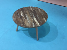small wooden coffee table with beech wood legs