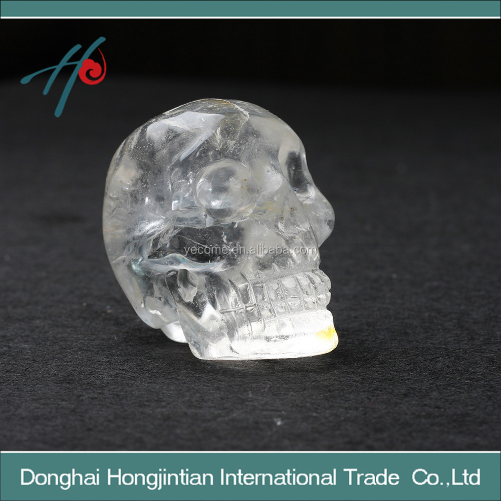 Top pure white crystal skulls carving furnishing articles appear a rainbow light