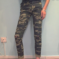 western hole camouflage trousers women jeans for autumn