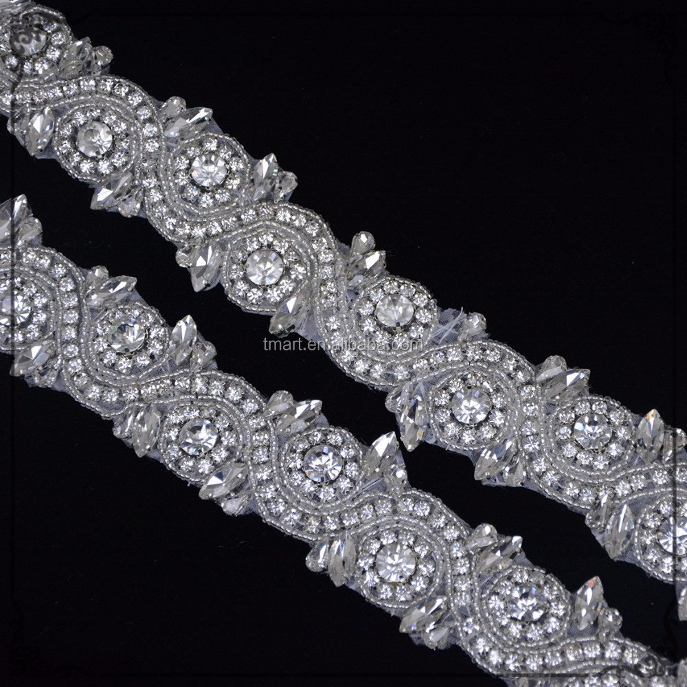 10 Yards Hotfix Silver white Pearl Rhinestone Trim Applique Sale Hot for Wedding Bridal