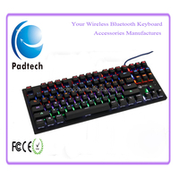 2016 New Arrival Slim Waterproof 87 keys Mechanical Switches Gaming Keyboard