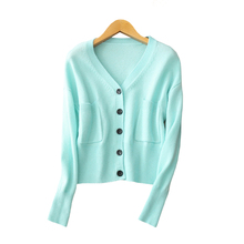 Ladies' pure cashmere knitting cardigan short slim fit solid color with V neck single breasted