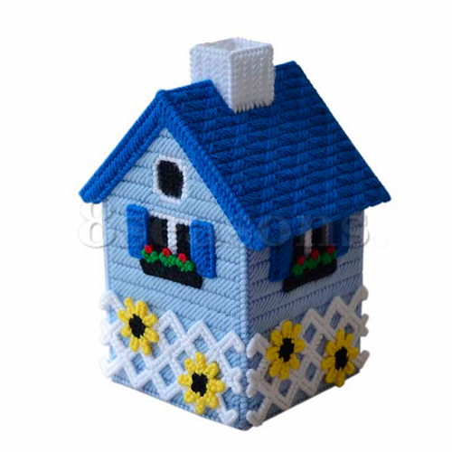 Blue House Flower Handicraft Craft Embroidery Cross Stitch Tissue Box For Home Decoration