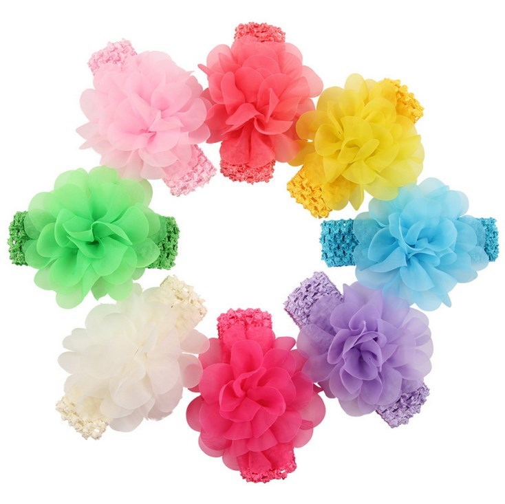 8 Colors New Hot Chic Blossom Flower For Headband Crochet Chiffon Flower Accessories For Princess Baby Hair Accessories