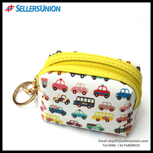 Best seller PU Bus design high-capacity with key ring Coin purse bag 2016