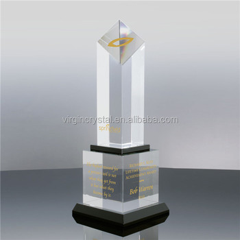 High quality diamond shape crystal award with cube trophy base for VIP business gifts