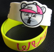 Cheap Custom Imprinted silicone wristbands, Promotation Silk Screen Silicone bracelets,,glow in thd dark silicone band
