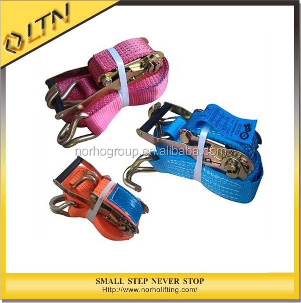 High Quality Ratchet elastic tie down strap&Double J hook