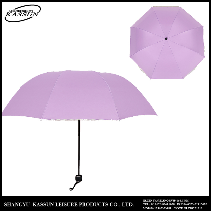 promotional 3 folding umbrella with leather j handle