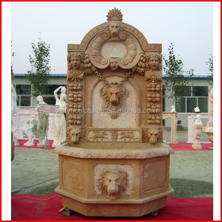 Hot sale stone fountain marble carved antique water lion and man head fountain against wall
