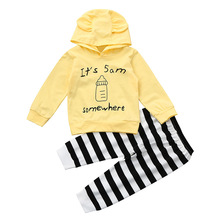 Wholesale Fashion Newborn Baby Clothing Set Long Sleeve Hoodies Milk Bottle Pattern Tops + Striped Pants Baby Girl Outfit