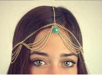 Crown Headband Forehead Jewelry Vintage Head Chain with Turquoise Pearl Gem Hair Ribbon Hair Accessories