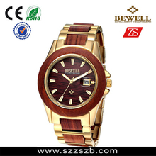 Bewell alloy&wood watch Newly Designed Date Time Health-caring Wrist Watch