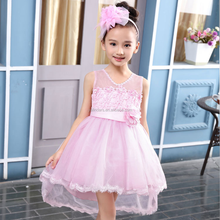 Flower Printed Short Front Long Back Fashion Baby Girl Wedding Dress Patterns 2016 for Children Party Wear