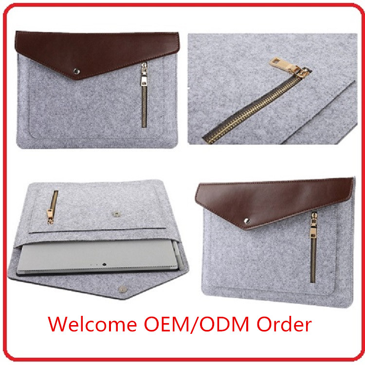 Hot selling colorful wool felt 13 inch multifunctional laptop sleeve for Macbook