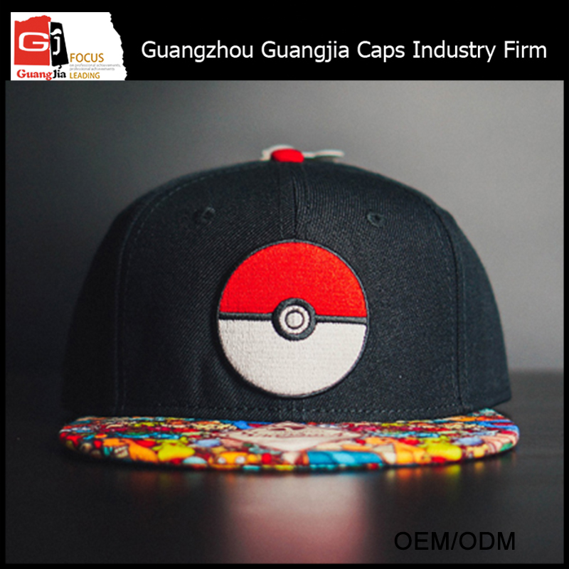 Guangjia Cap Industry Firm Manufacturer Custom High Quality Pokemon Snapback Hat For Wholesale