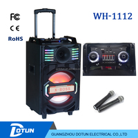 12 inch trolley subwoofer wooden speaker box with DJ MIXER/ FM/BT /MIC/REC/ REMOTE/WHEELS,ibastek speaker