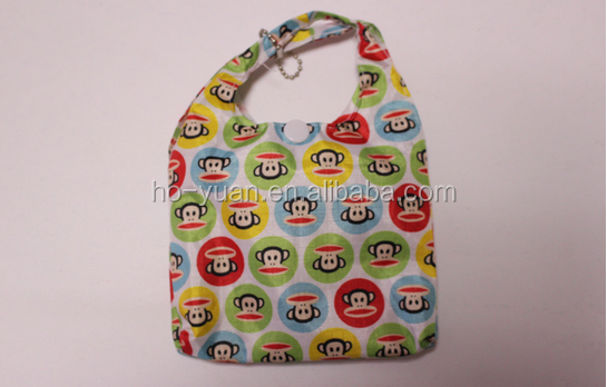 High quality polyester shoulder bag lovely foldable shopping bag with monkey pattern