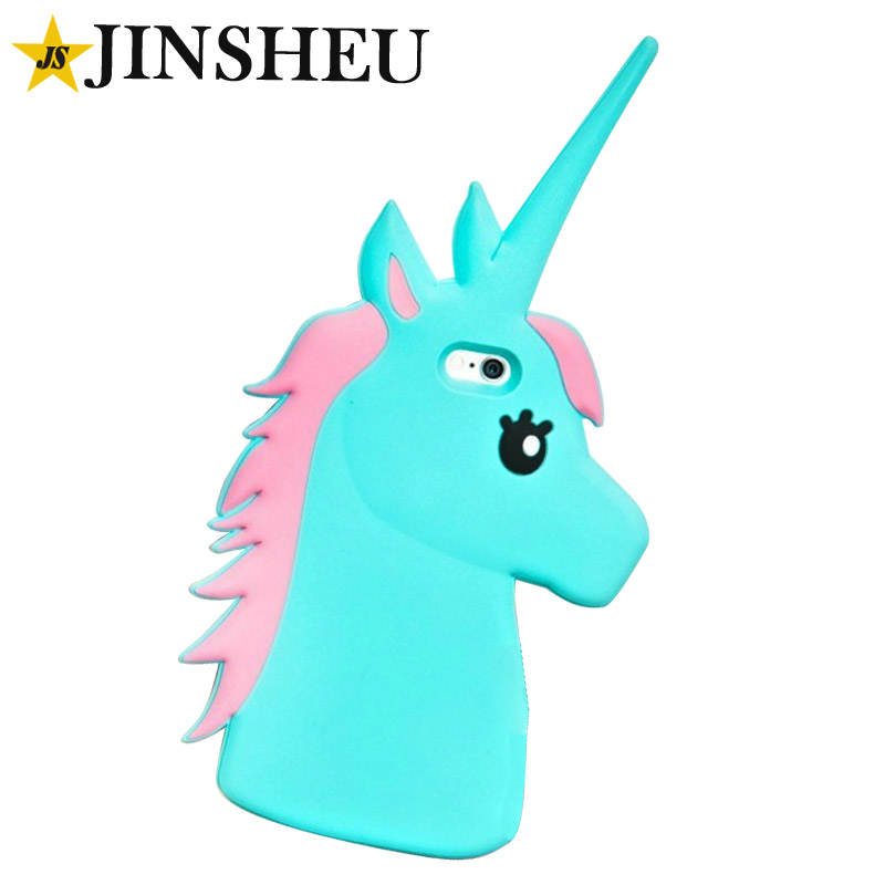Custom shape cute silicone rubber unicorn phone cases