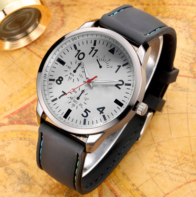 Business men watch with stitching leather strap, good quality PU strap watch at reasonable price
