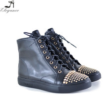 New Design Special Rhinestone Lace Up Sneakers Shoes Metal Studs Flat High-Top Women High Heel Casual Shoes