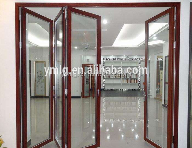 China Suppliers Wood Grain Colors <strong>Aluminum</strong> Patio Accordion Door