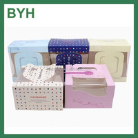 custom design printing clear window paper cardboard cake box with handle