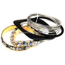 Fashion Multilayers Snake Skin Wrapped Rhinestone Women's Texture Metal Bangle