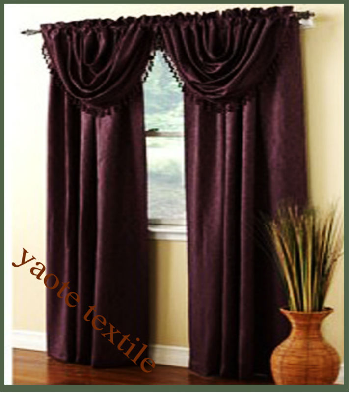 new design satin fabric curtain with valance and beaitiful tassel
