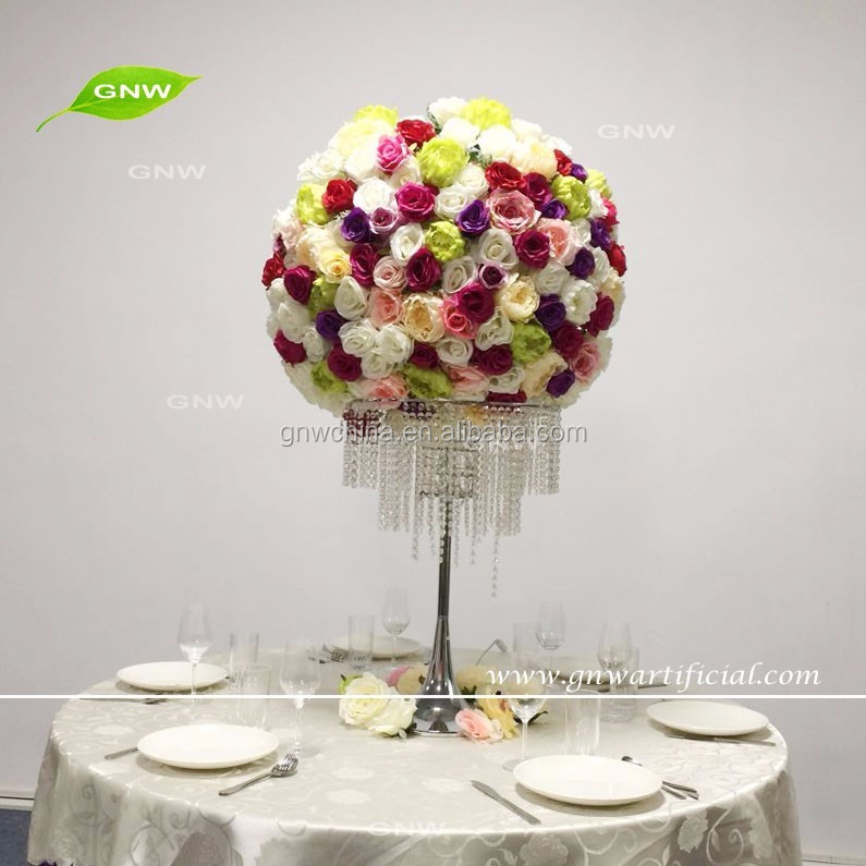 GNW CTRA-1705019 Rose silk white pink flower colors wedding dining table centerpieces with acrylic stand