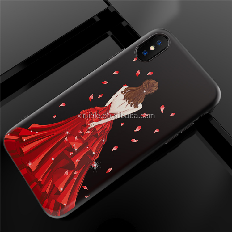 Wedding Dress Sexy Girl Soft TPU Back Cover Girly Red Mobile Phone Case for iPhone X
