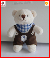 soft plush animal type 10cm teddy bear keychain with metal keyring