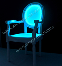 led color changing perspex arm chair for events wedding