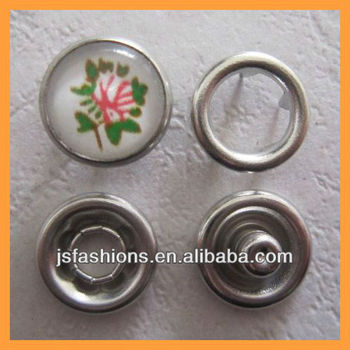 Fashion flower design pearl prong snap button with silver color