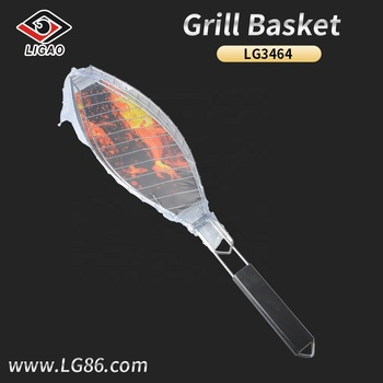 Heat-resistance fish mesh with wooden handle for grill