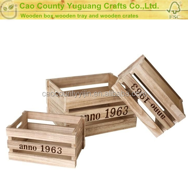 Wholesale natural unfinished recycled wood fruit crates