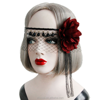 High quality item Retro Big Red Flower Mesh Tassel Masquerade Ball Party Mask Wholesale