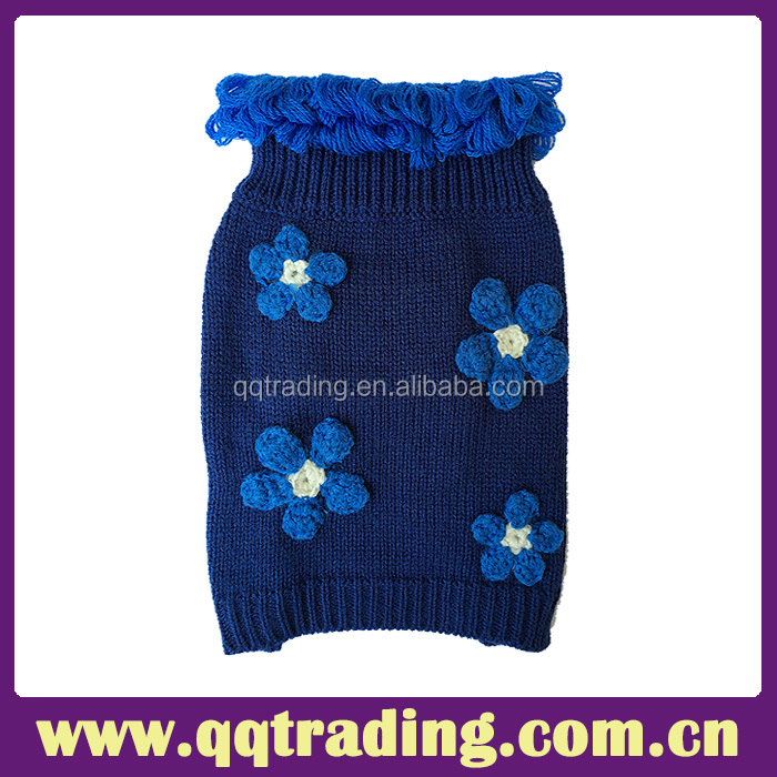 Factory directly sale the lastest design 7GG floewr pattern blue kintted pet dog clothing