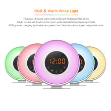 Wake Up Light Digital Sunrise Alarm Clock with Multi-Colorful Night Light, 6 Nature Sounds
