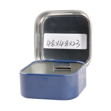 Luxury cosmetic square hinge metal tin box with mirror Lid