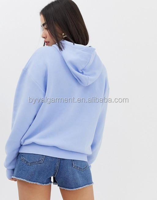 Custom Tag OEM Apparel Pastel Blue Hoodies Sweatshirts Women's Poly-Cotton Fleece Full-Zip Hoodies