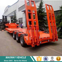 Cheap Price tri-axles four axles 60 tons 80tons 100 tons heavy duty lowboy low bed semi truck trailer for sale