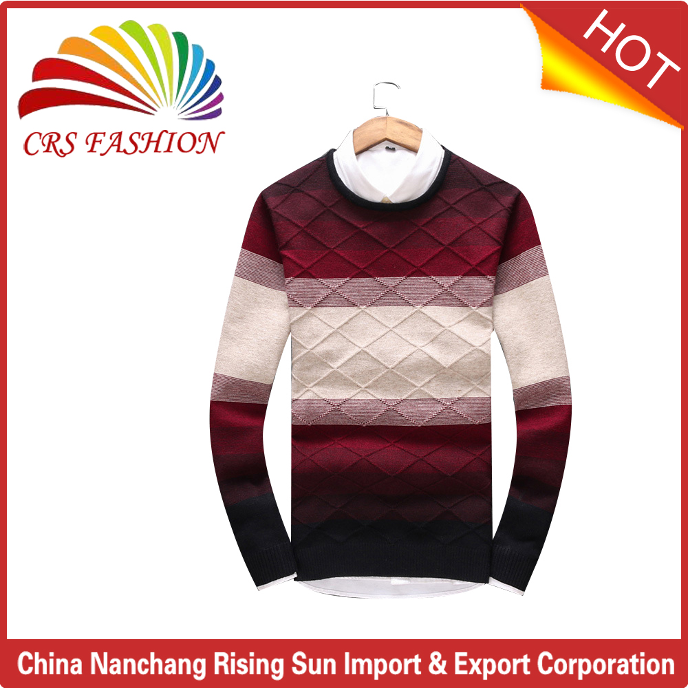 2017 high quality with checked design knit maufacturer supplier man sweater