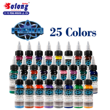 Solong factory price Tattoo Ink 1OZ/bottle 25color high quality glitter tattoo ink set