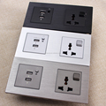 Universal Power Socket 2 USB port electrical switch sockets with on/off button