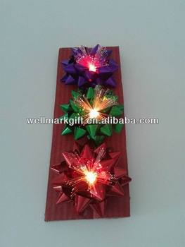"3.75"" LED Fiber Lighting Up Gift Star Ribbon Bow"