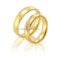 stainless steel couples purity wedding ring gold plated 18k